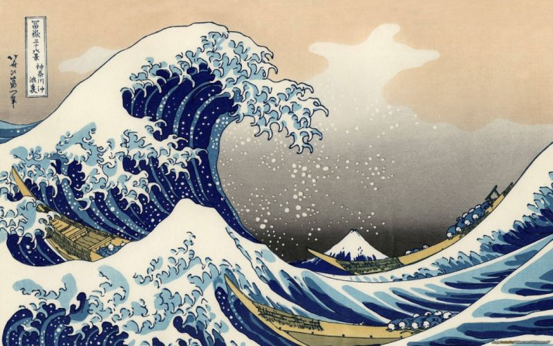 Paintings the great wave off kanagawa katsushika hokusai thirty-six views of mount fuji wallpaper