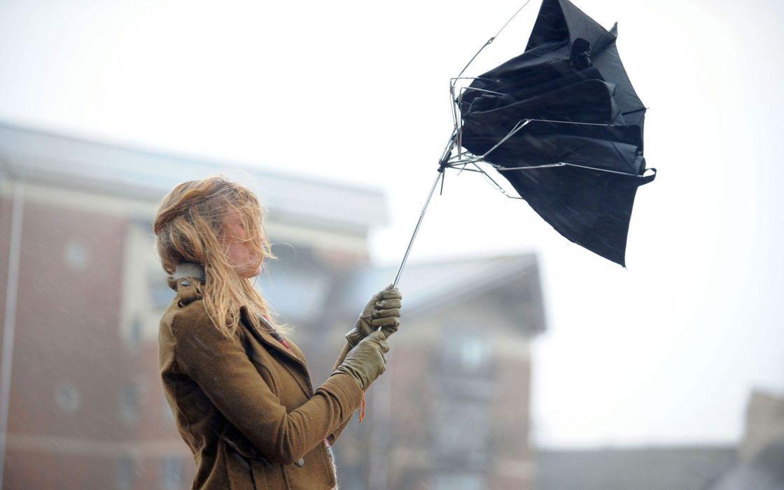 Blondes women outdoors umbrellas wallpaper