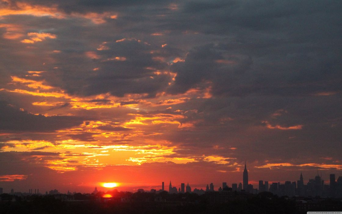 Sunset clouds cityscapes new york city city skyline wallpaper