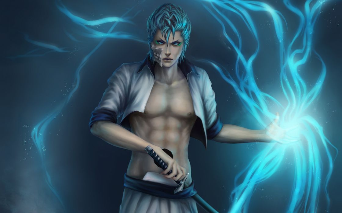 Bleach weapons blue hair espada artwork anime anime boys grimmjow jaegerjaquez swords lightning bolts wallpaper