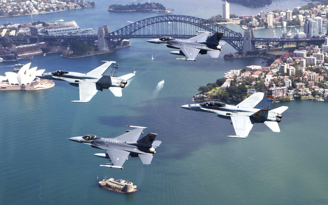Aircraft military vehicles f-18 hornet f-16 fighting falcon wallpaper