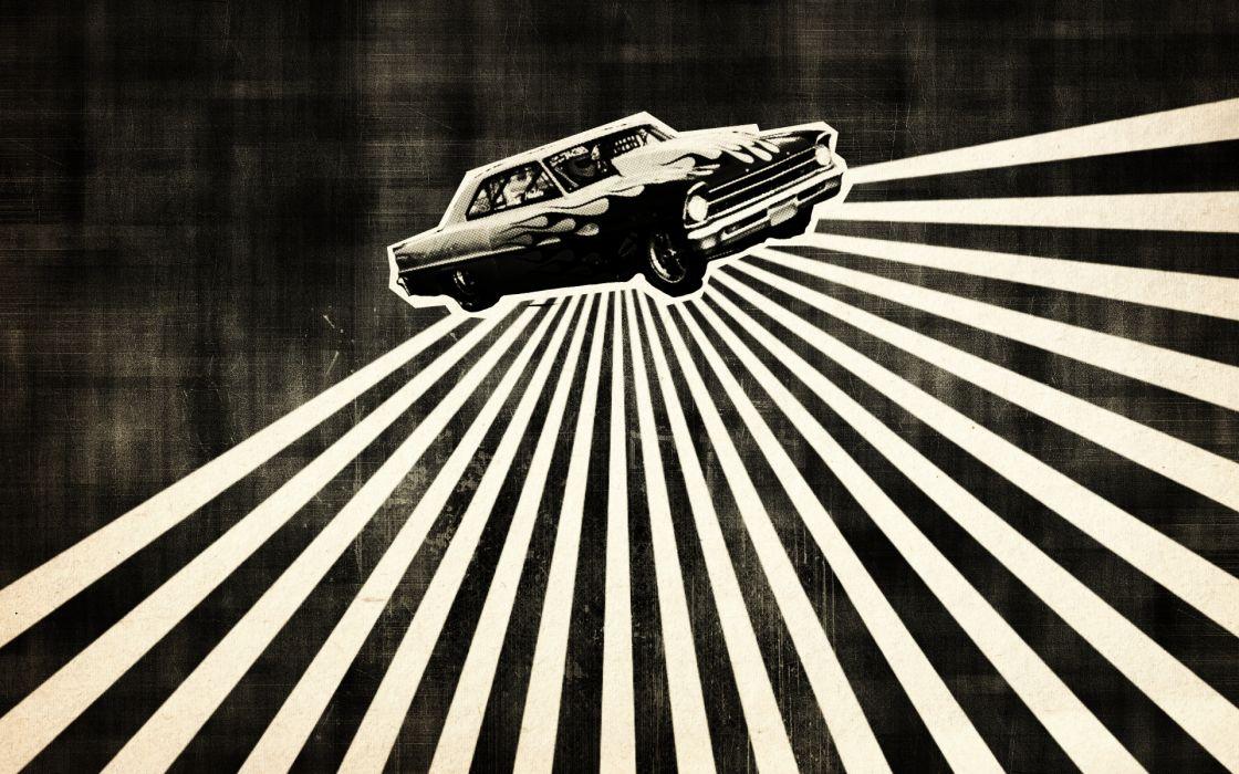 Cars retro monochrome wallpaper