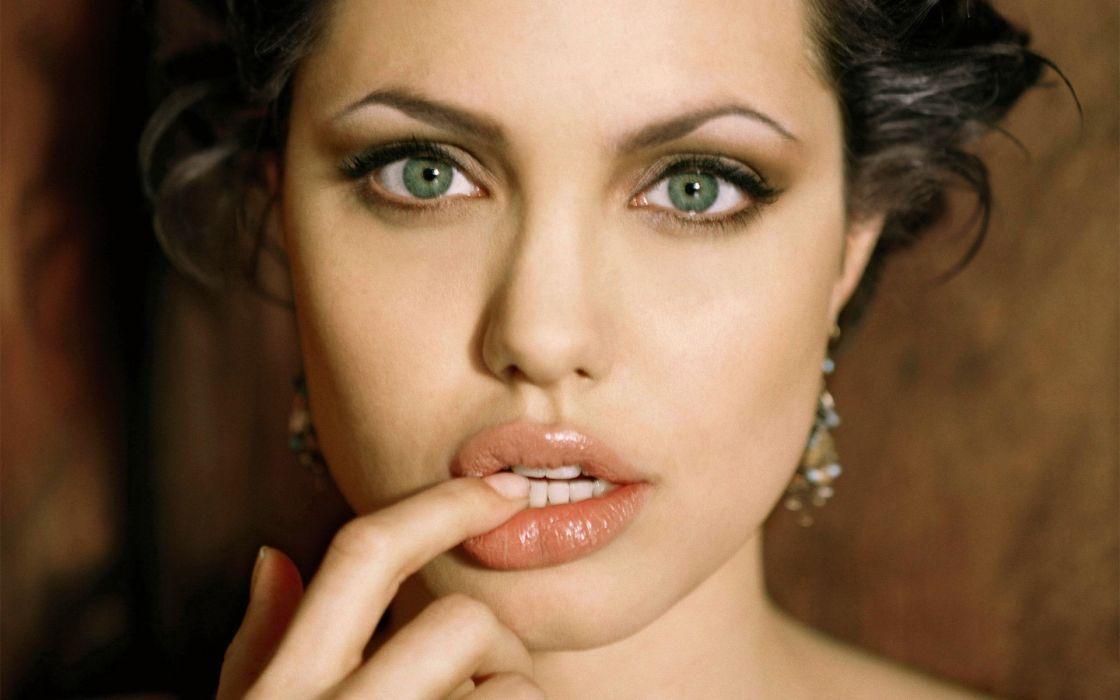Brunettes women actress angelina jolie celebrity green eyes faces wallpaper