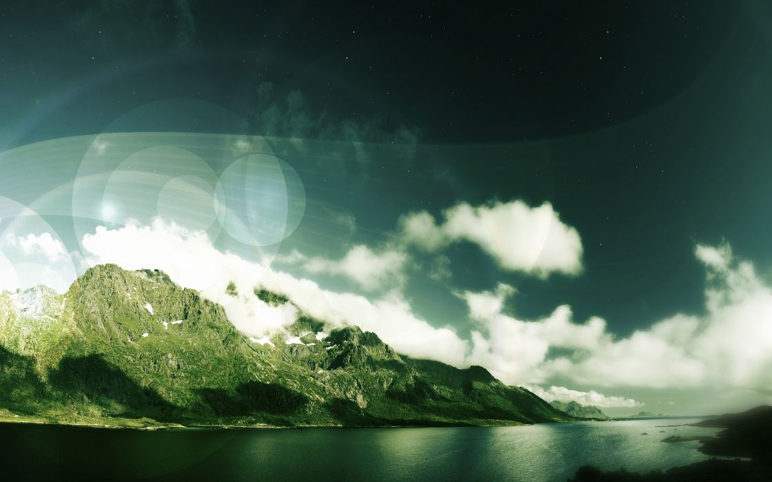 Mountains landscapes nature photomanipulations wallpaper