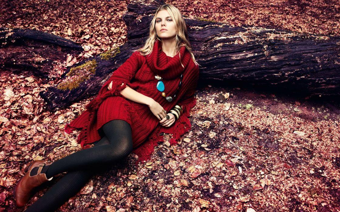 Women trees autumn (season) leaves fashion sweater wallpaper