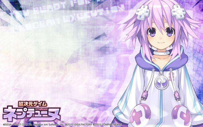 Purple hair neptune tsunako anime girls wallpaper