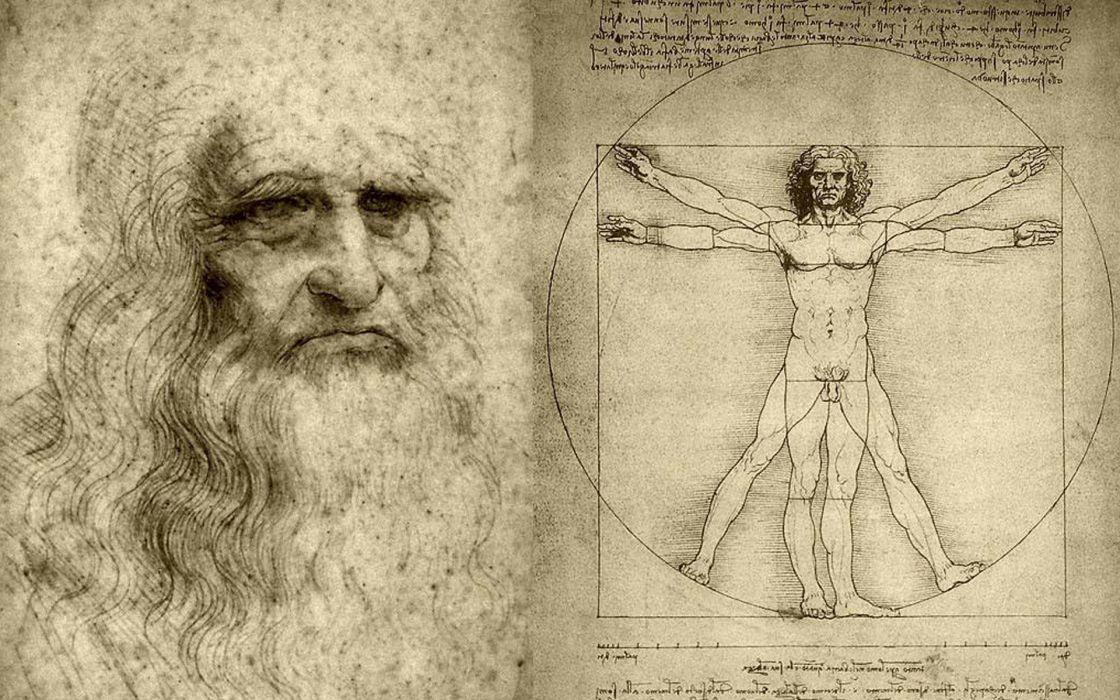 Vitruvian man artwork leonardo da vinci wallpaper