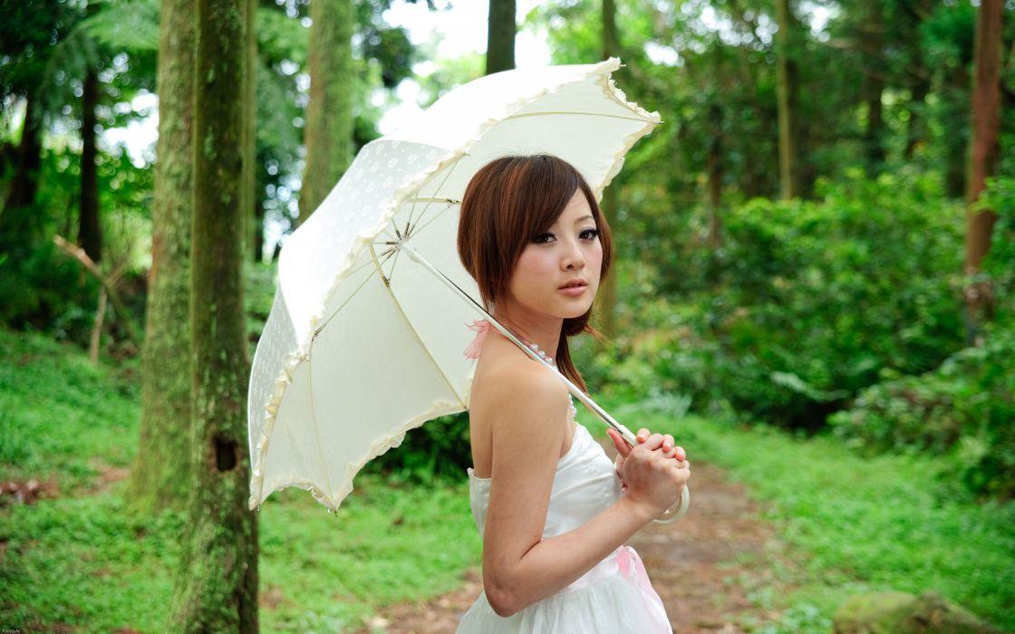Women people plants asians umbrellas wallpaper