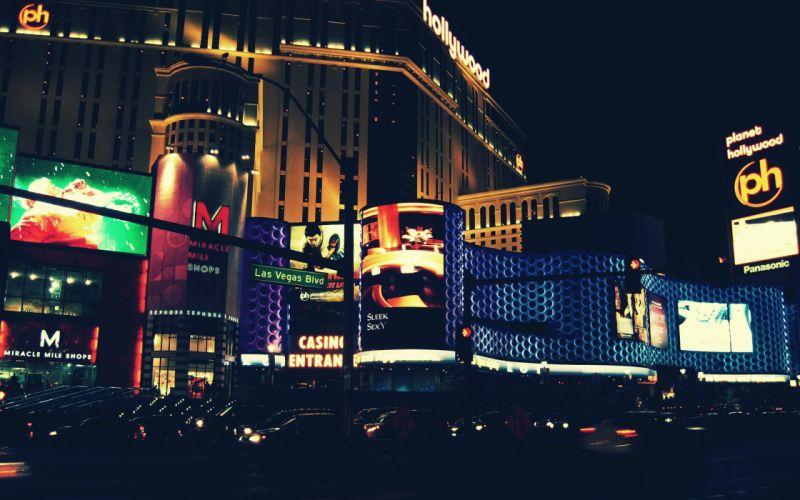 Cityscapes night usa new york city city lights neon lights wallpaper
