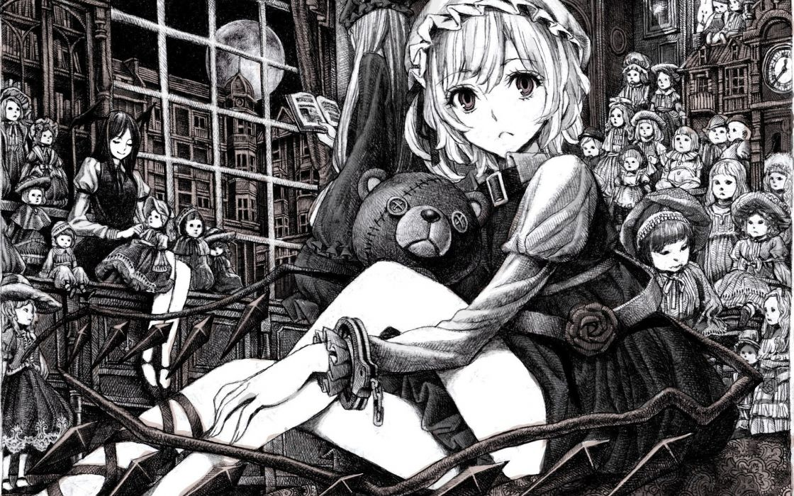 Touhou toys (children) vampires monochrome flandre scarlet koakuma anime girls wallpaper
