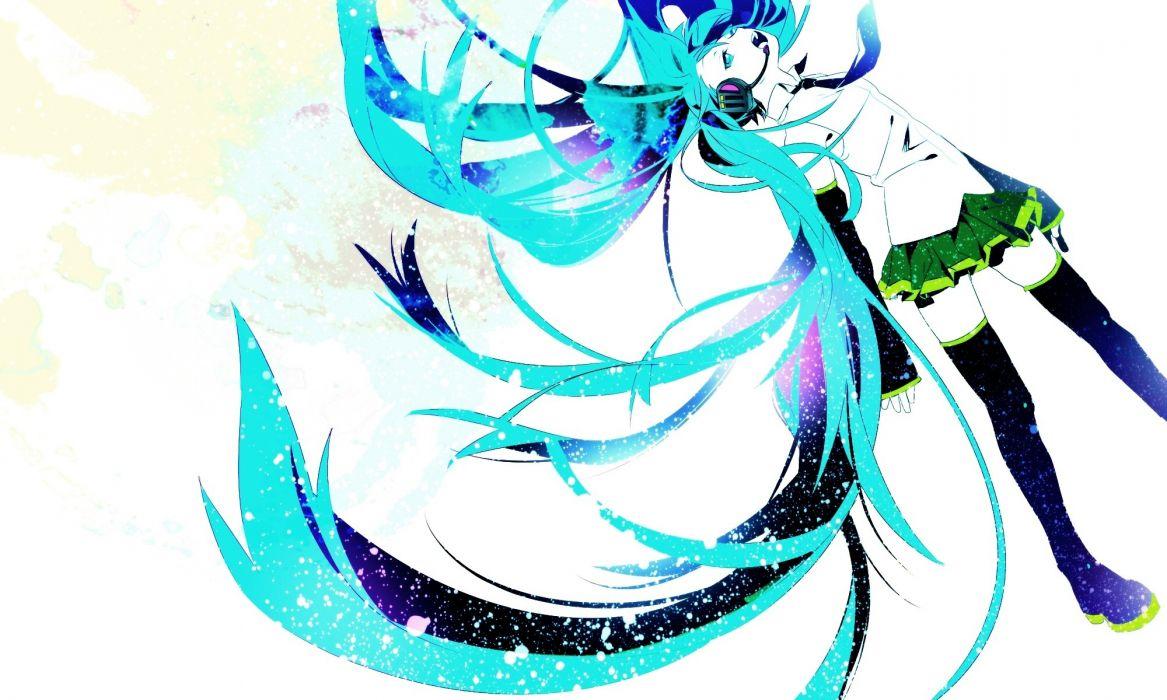 Headphones vocaloid white hatsune miku long hair thigh highs twintails aqua eyes aqua hair anime girls wallpaper