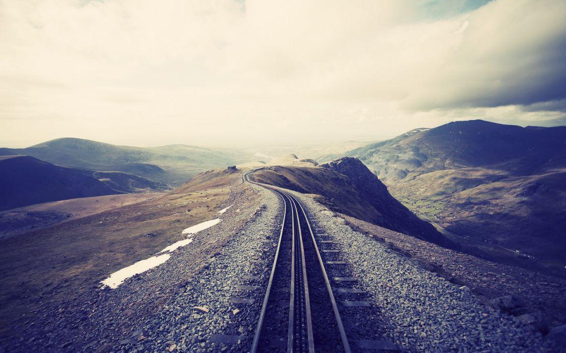 Landscapes railroad tracks railroads wallpaper