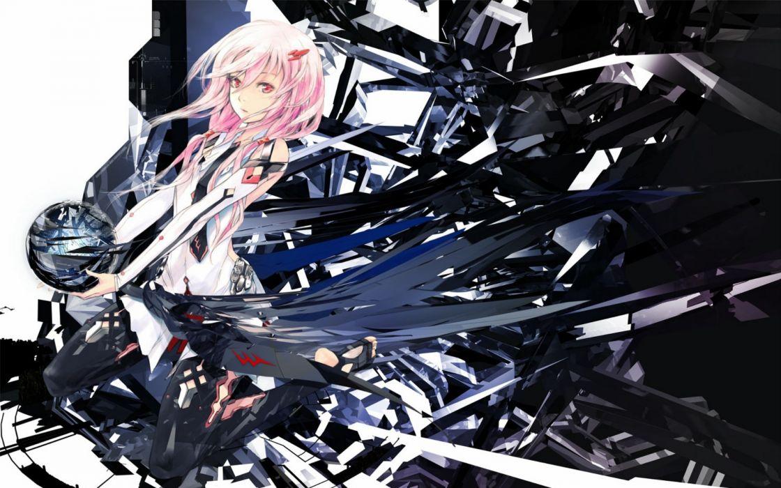 Tie pink hair red eyes anime girls guilty crown yuzuriha inori wallpaper