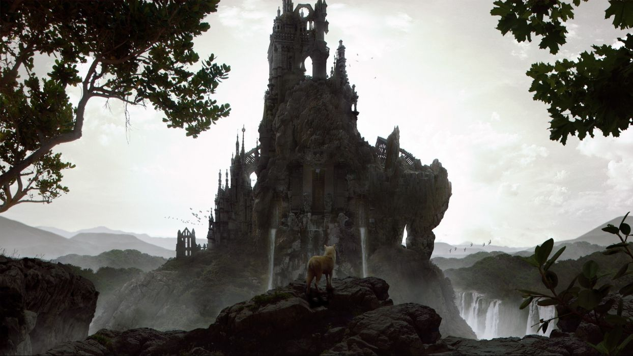 fantasy castle animals wolf wolves wallpaper