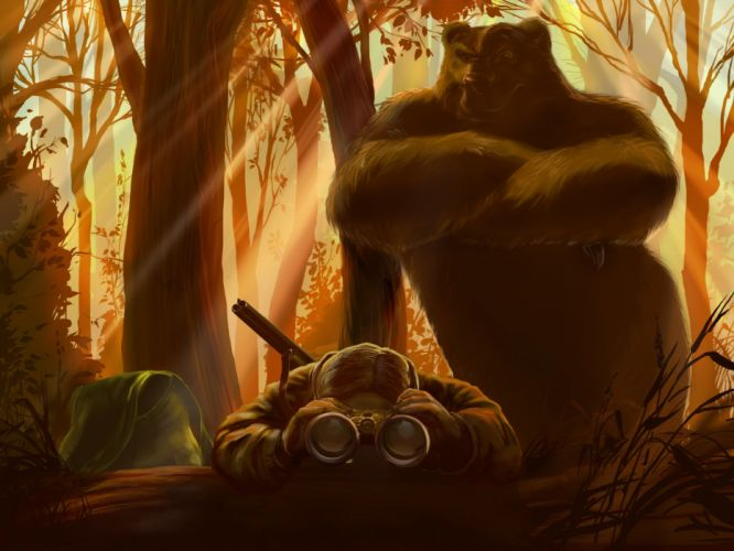 homor funny nature bears people forest situation mood cartoon wallpaper
