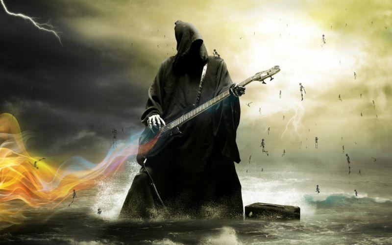 grim-reaper reaper dark fantasy music other digital-art guitars wallpaper