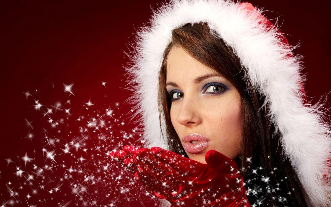 Brunettes women gloves lips christmas wallpaper