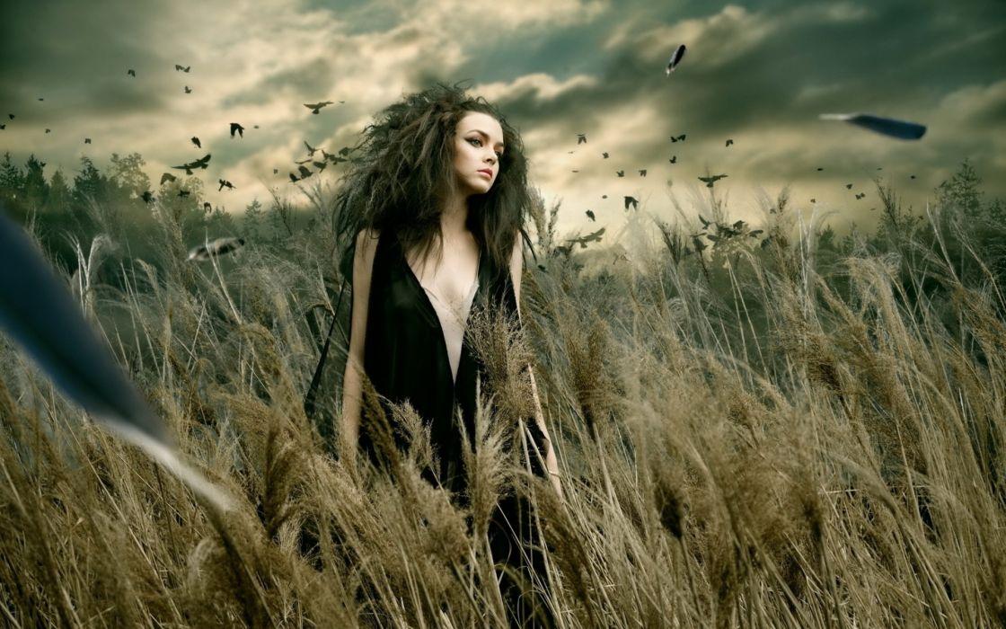 Shinji-Watanabe Fashion photography manipulations cg digital-art women girls gothic models mood fantasy people wallpaper
