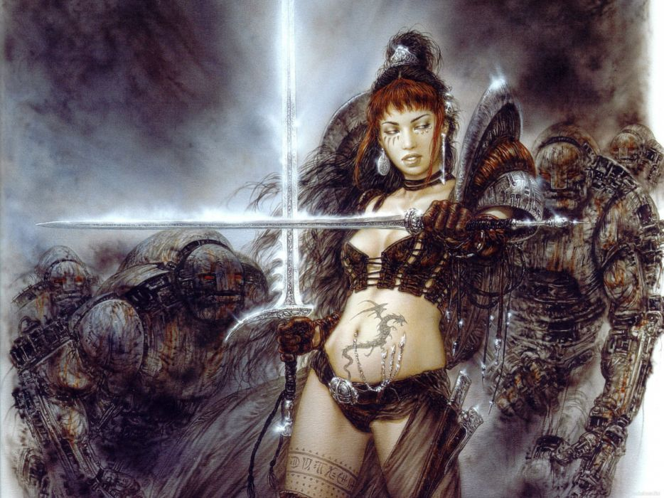 Luis-Royo Royo fantasy other warriors females weapons swords other wallpaper