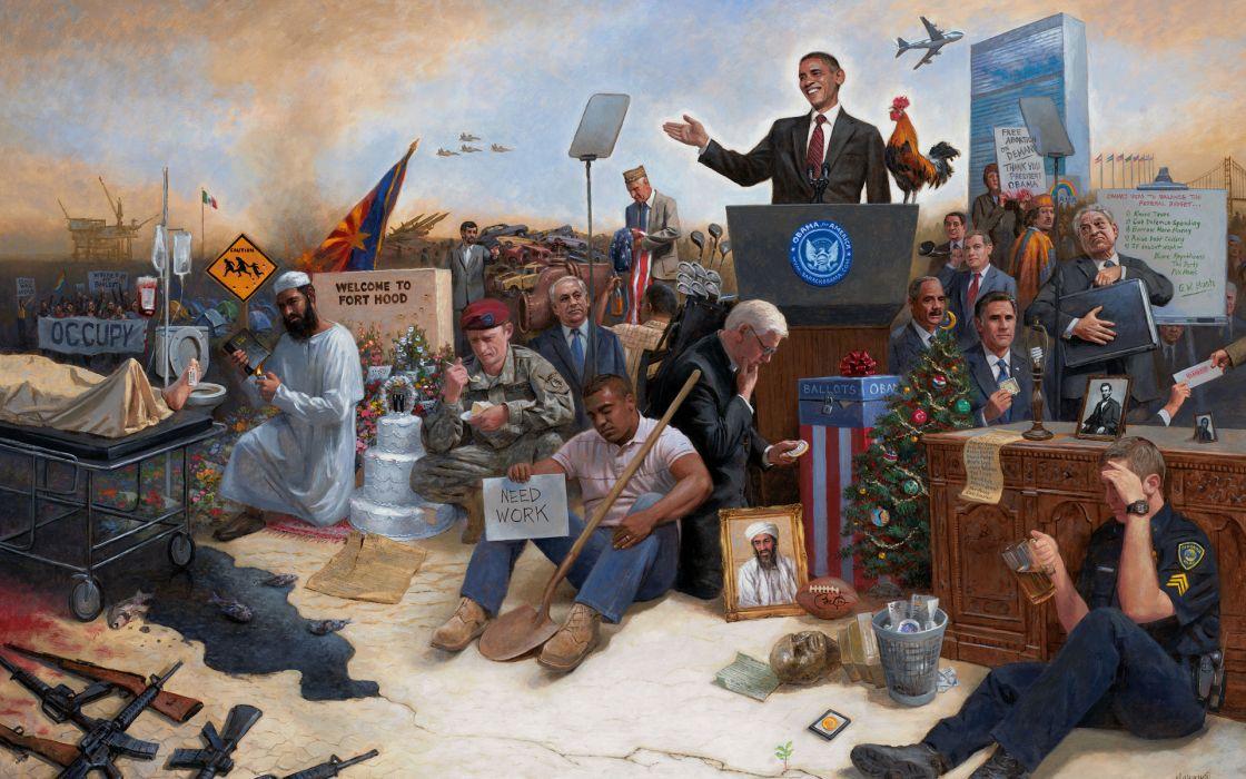 Obamanation Barack-Obama Obama people humor funny political abstract other war Jon-McNaughton wallpaper
