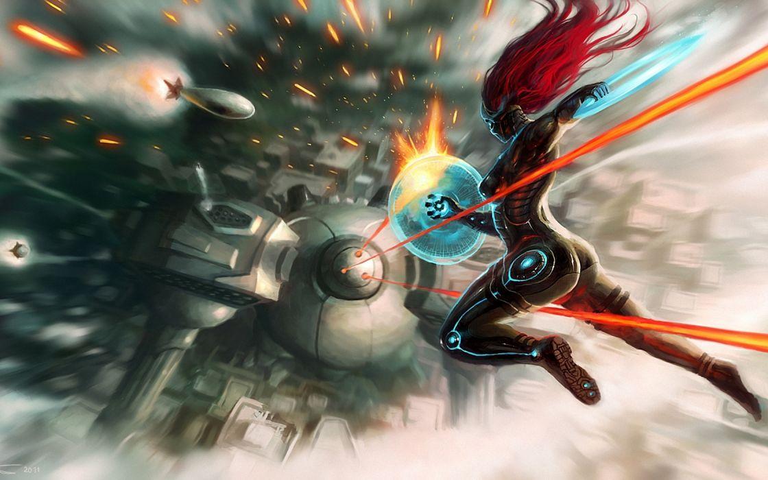 Cyborgs robots sci-fi science-fiction digital-art games video-games futuristic battles wallpaper