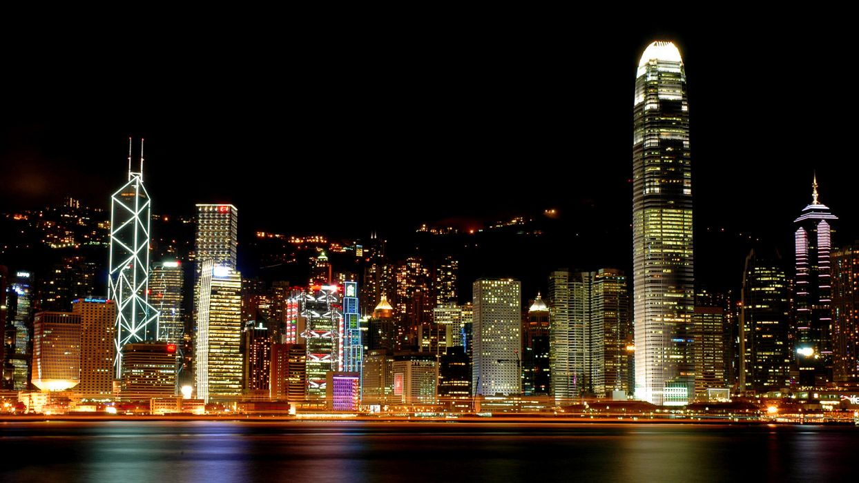 Hong-Kong cities architecture cityscapes skylines night lights wallpaper