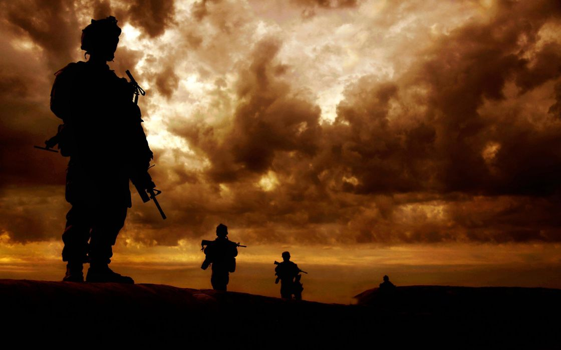 military people soldiers weapons war sunrise/sunset  wallpaper