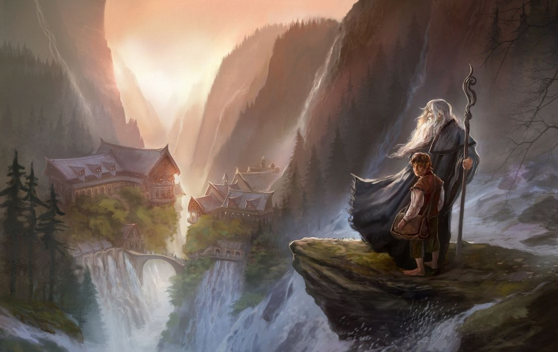 paultobin_deviantart_com paul-tobinn the-Hobbit Hobbit fantasy movies books novels wizard magician wallpaper