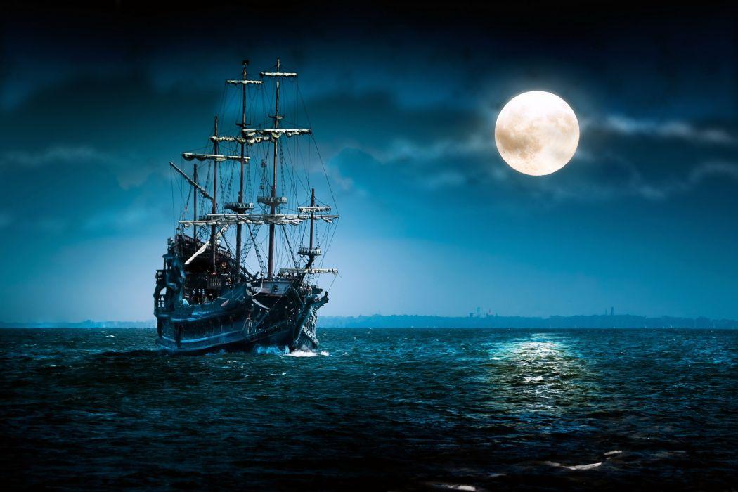 fantasy ships vehicles renderings digital-art cg oceans seas seascapes fantasy wallpaper
