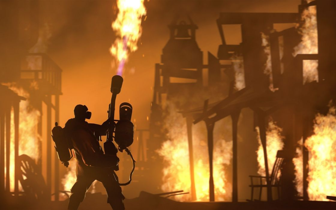 Team-Fortress-2 Team-Fortress Fortress games video-games fire flames wallpaper