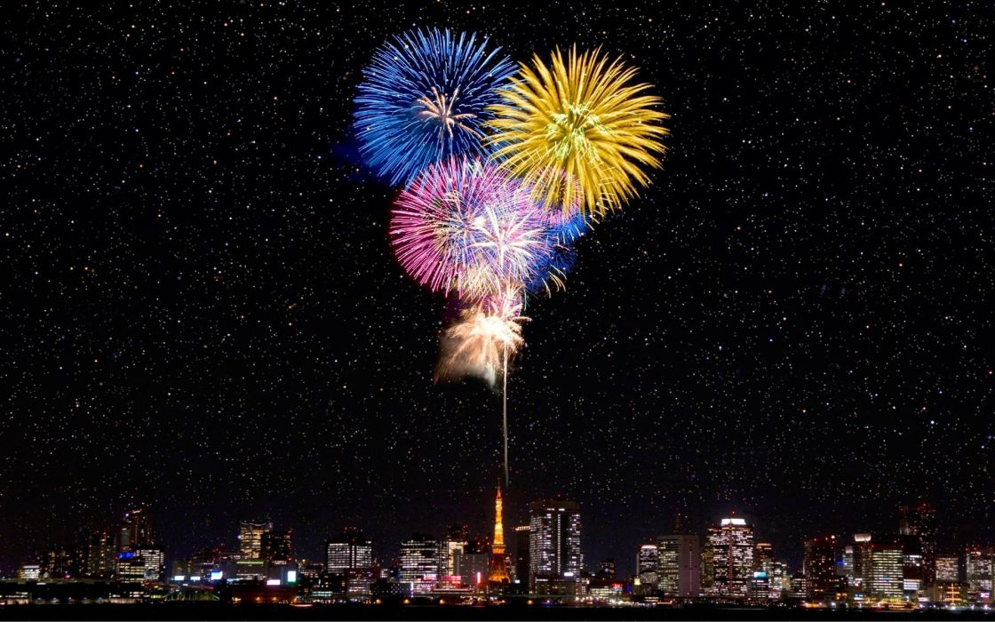 japanese fireworks cities architecture sky stars holidays festive wallpaper