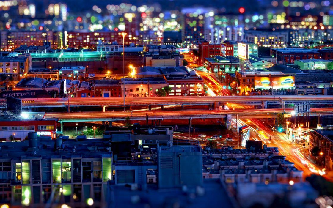 photography tilt-shift architecture night lights hdr bridges colors scenic wallpaper