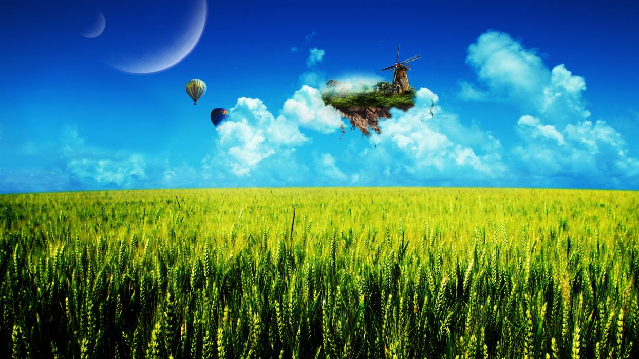 cg digital-art manipulations landscapes surreal fantasy balloons moons wheat clouds wallpaper