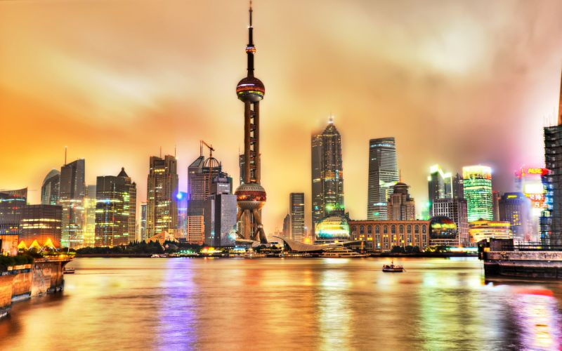 Shanghai China cities cityscapes architecture buildinds skyscrapers hdr reflection water sky clouds night lights wallpaper
