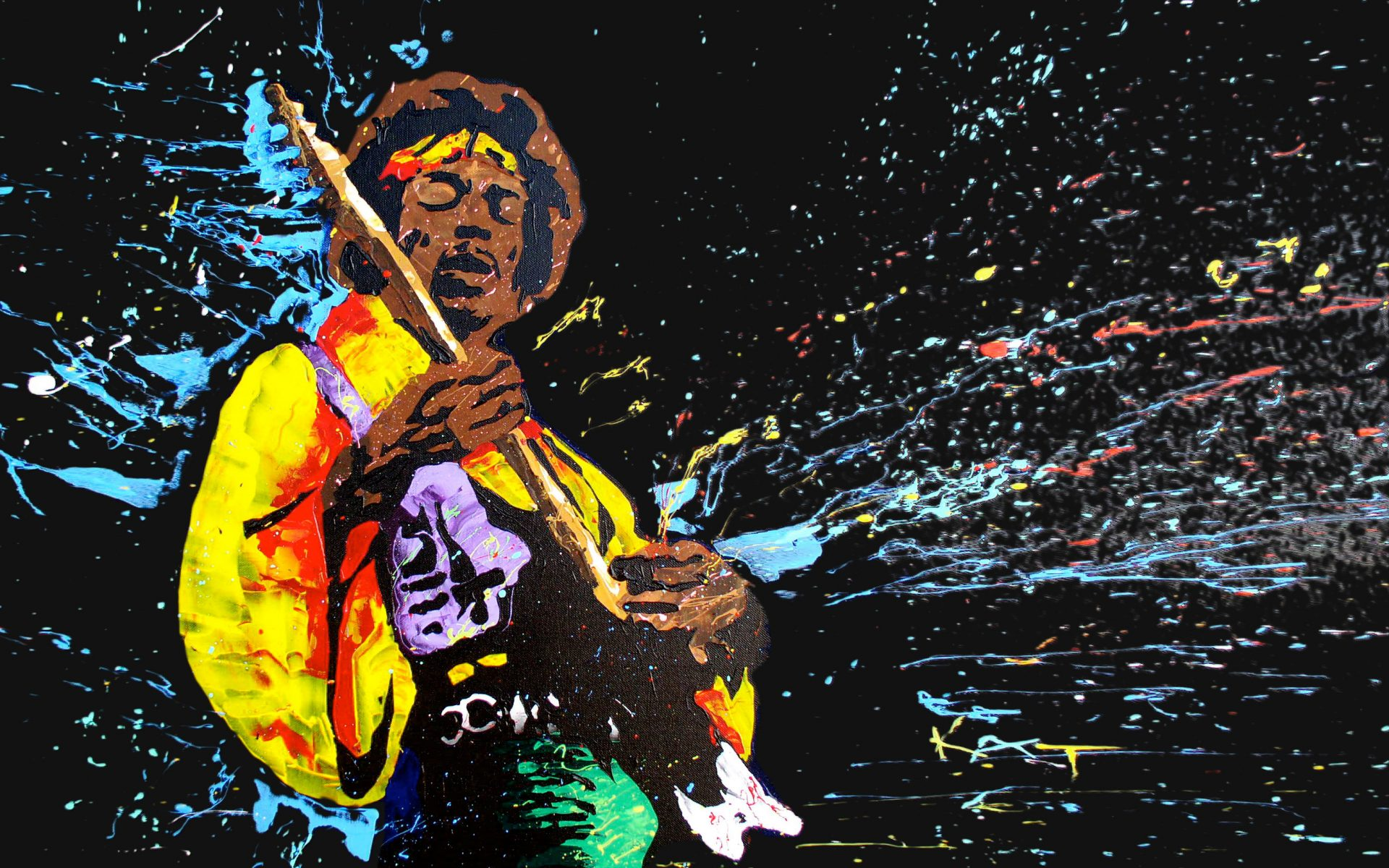 Jimi Hendrix Music Bands Musicians Abstract Colors
