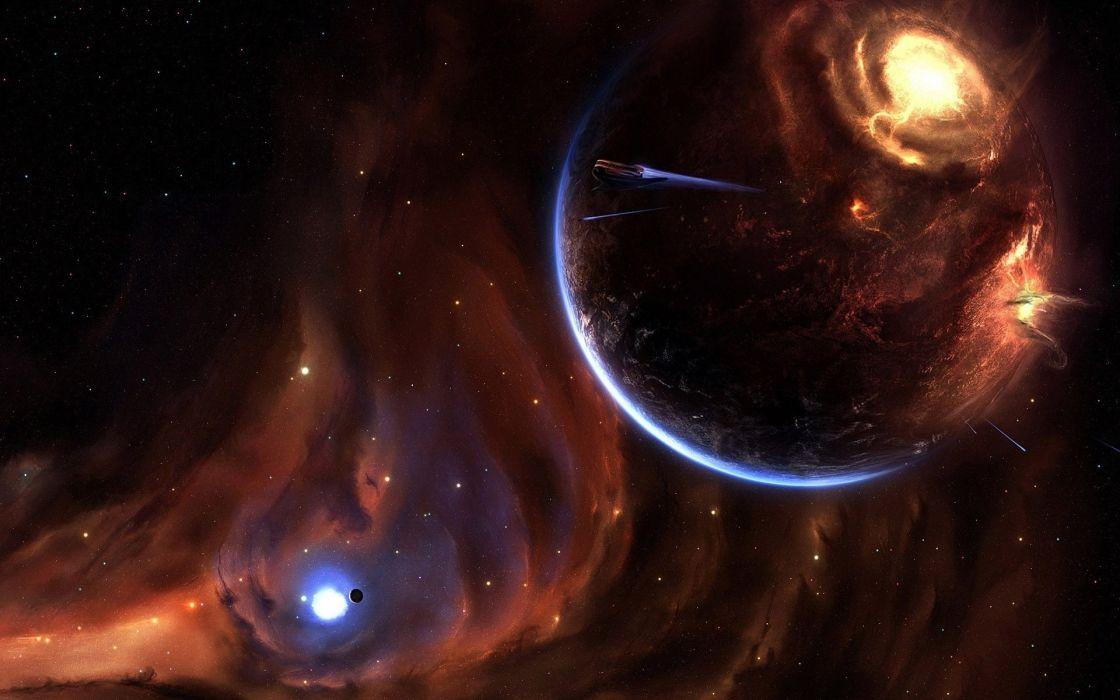 Sci Fi Planets Spaceships Spacecrafts Space Universe Apocalypse Cg Digital Art Wallpaper