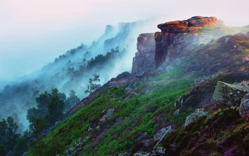 nature landscapes mountains fog mist trees forests wallpaper