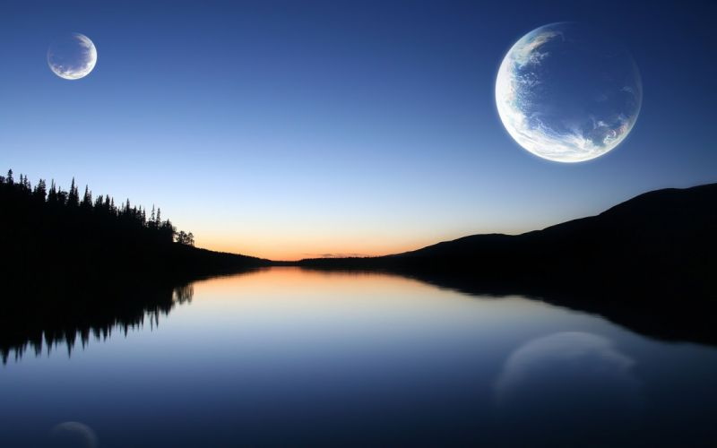 Nature forest moon rivers reflections wallpaper