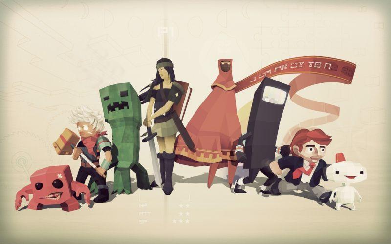 Minecraft super meat boy bastion indie games wallpaper
