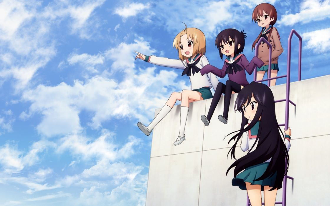 School uniforms a-channel tooru ichii momoki run nishi yuuko tennouji nagisa wallpaper