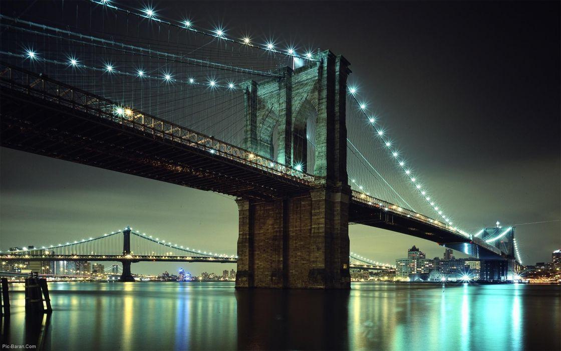 Cityscapes night bridges brooklyn bridge wallpaper