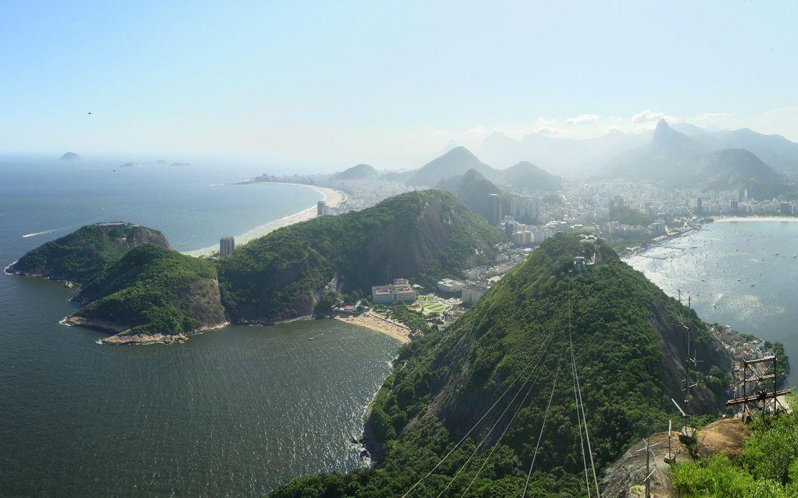 Beach cityscapes seas hills brazil rio de janeiro panorama bay wallpaper