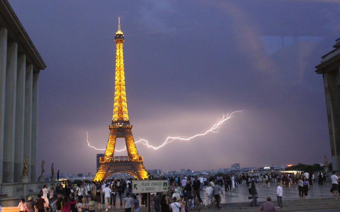 Eiffel tower paris cityscapes france lightning wallpaper