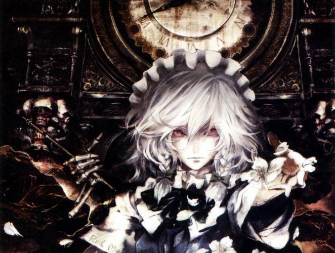 Touhou maids izayoi sakuya braids white hair anime girls hair band wallpaper