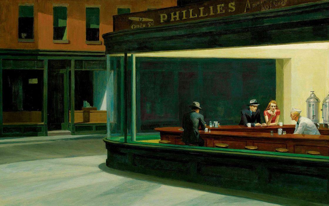 Paintings edward hopper artwork nighthawks at the diner wallpaper