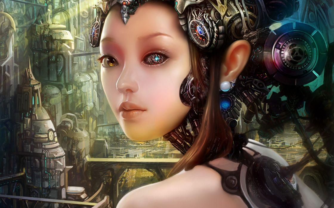 sci-fi science-fiction robots cyborgs women girls technical machinery cg digital-art fantasy wallpaper