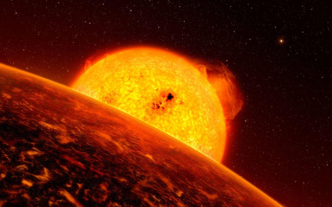 sci-fi science-fiction space universe planets sun fire flames wallpaper
