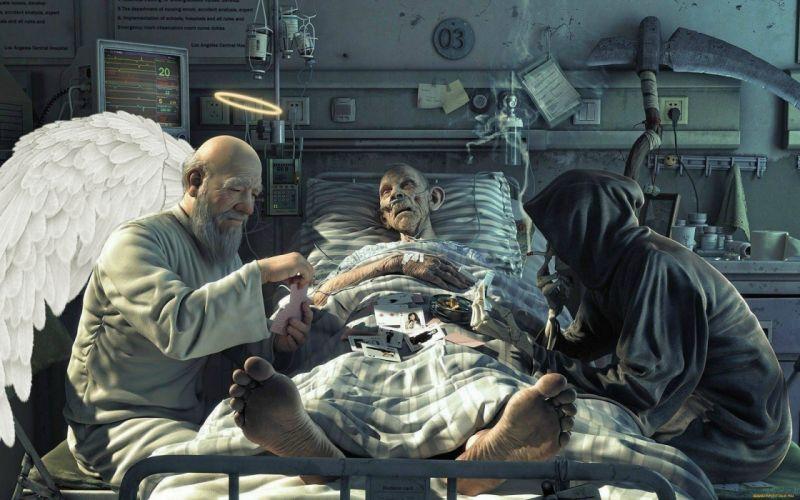 humor funny situations mood dark angels reaper grim-reaper horror creepy spooky men people males wallpaper