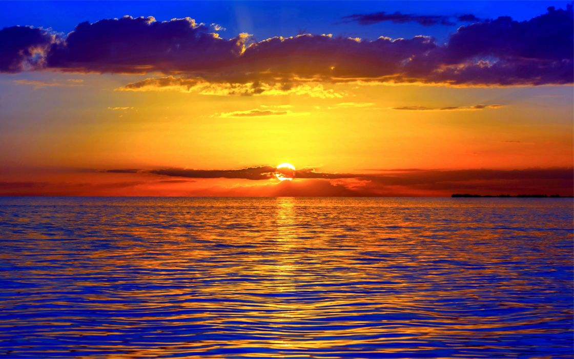 nature sunrise sunset oceans water reflections skies clouds colors wallpaper
