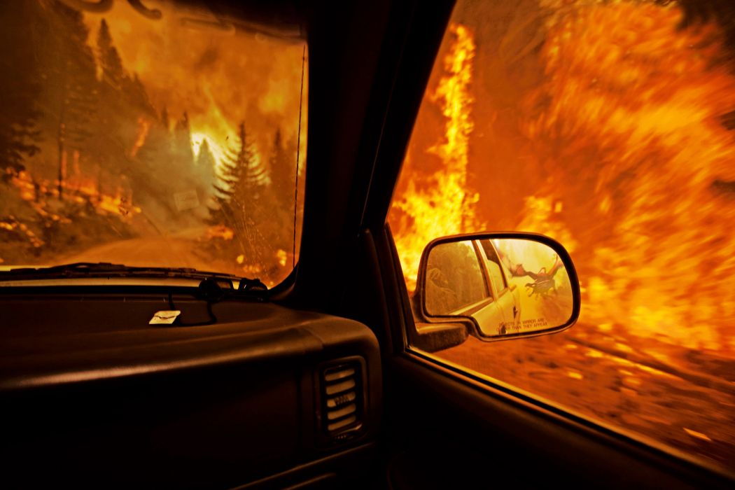 fantasy manipulations cg digital-art fire flames dragons trees forests vehicles cars wallpaper